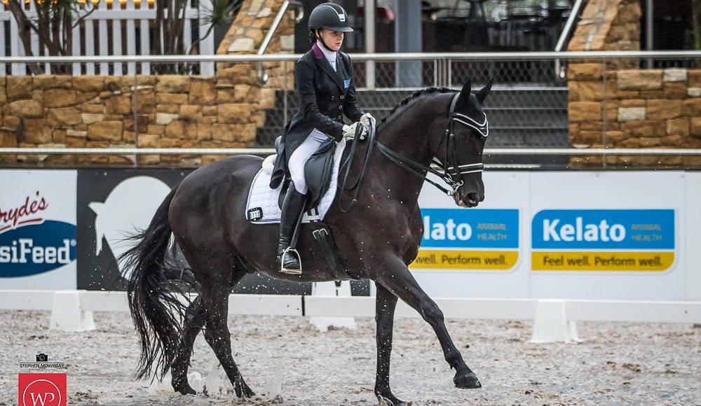 Sophie Artup and 'Deltry Sorrento' win the class with a score of 67.92%