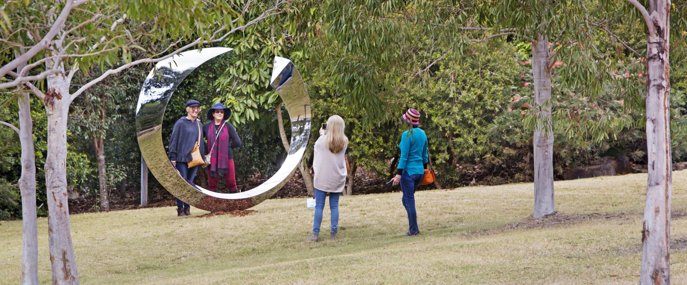 Patrons enjoying sculpture
