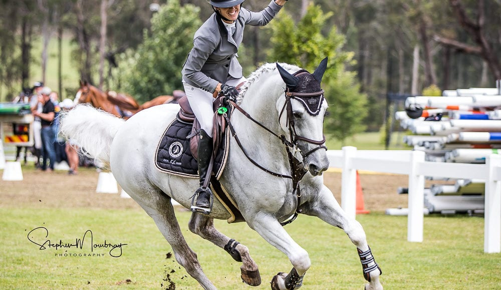 WPS89787-Katie Laurie and 'Casebrooke Lomond make it three from three and win the inaugural Willinga Park Jumping Grand Final Grand Prix