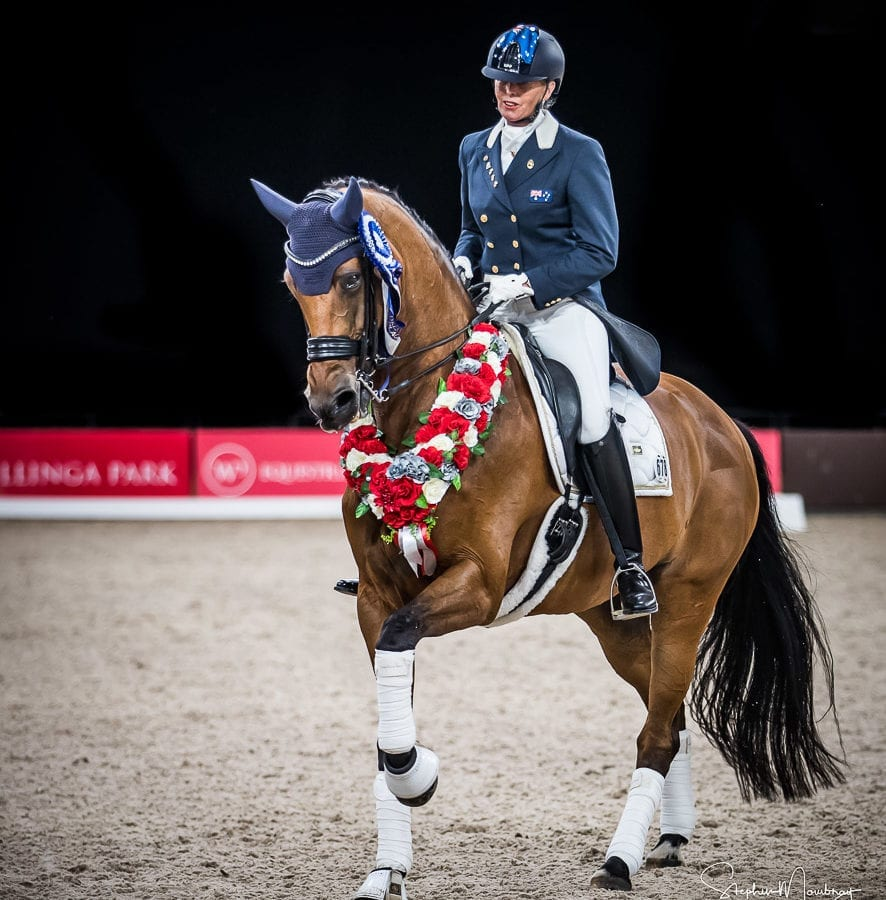 Mary Hanna and 'Calanta' after setting a new Australian Record at Dressage by the Sea 2020